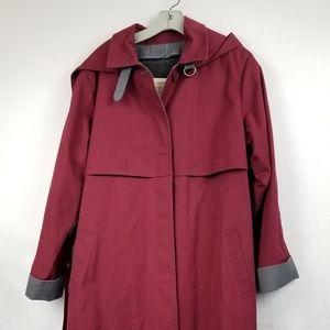 London Fog Women's Burgundy Trench Coat Size 12 R